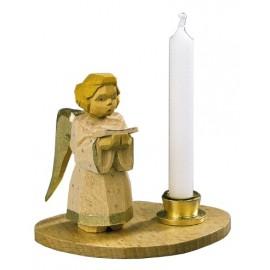 Engel mit Notenblatt / Kerzenhalter, natur, Höhe 7 cm